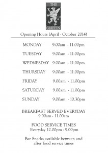 Opening Hours Sign GR Spr-Sum-Aut 14